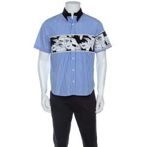 Prada Blue Comic Print Striped Cotton Short Sleeve Shirt  M