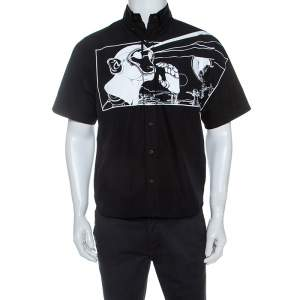 Prada Black Cotton Comic Printed Button Down Shirt M