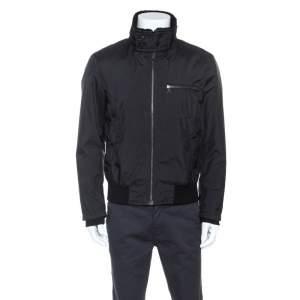 Prada Black Sheep Skin Detail Zip Front Jacket L