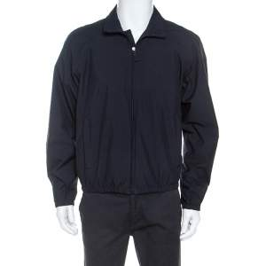 Prada Midnight Blue Zip Front Harrington Jacket L