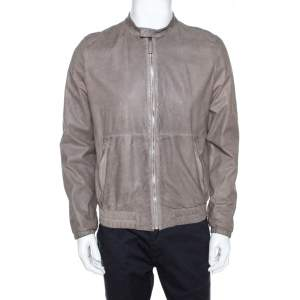 Prada Grey Leather Zip Front Bomber Jacket L