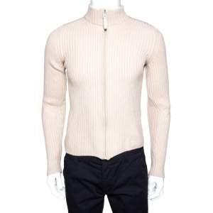 Prada Cream Rib Knit Zip Front Sweater M