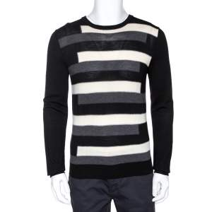 Prada Tricolor Striped Wool Crewneck Sweater L