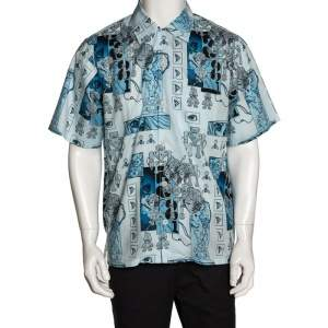 Prada Blue Cotton Robot Print Short Sleeve Shirt XL