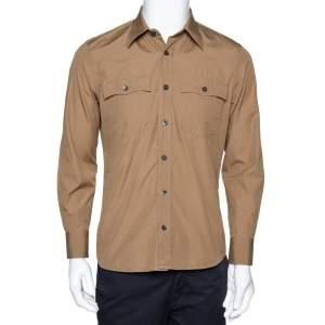 Prada Khaki Cotton Poplin Safari Style Full Sleeve Shirt M
