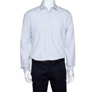 Prada White Star Print Cotton Long Sleeve Shirt XL