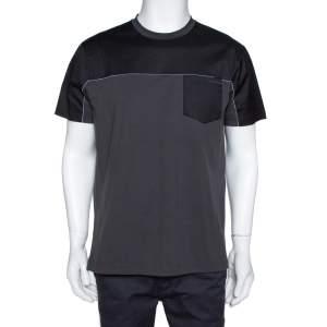 Prada Charcoal Grey Stretch Cotton Paneled Crew Neck T-Shirt XXL