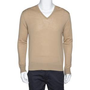 Prada Beige Wool V-Neck Jumper M