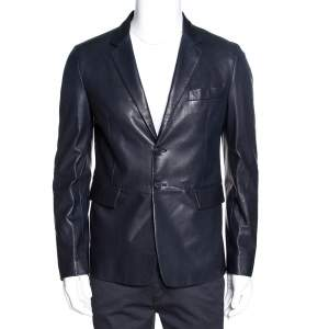 Prada Navy Blue Leather Single Breasted Jacket M