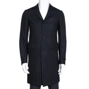 Prada Charcoal Grey Felted Wool Button Front Coat S