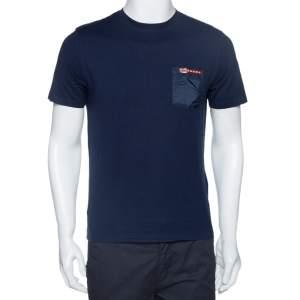 Prada Navy Blue Cotton Pocket Detail Crew Neck T-Shirt M