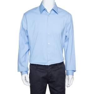 قميص برادا أزرق فاتح قطن سترتش كم طويل مقاس كبير جدًا جدًا جدًا - إكس إكس إكس لارج