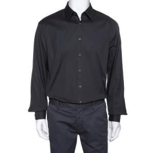 قميص برادا قطن أسود مطاطي كم طويل مقاس كبير جدًا جدًا جدًا - إكس إكس إكس لارج