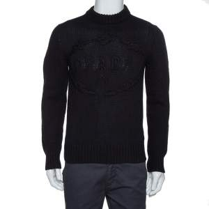 Prada Black Cashmere & Wool Knit Logo Embroidered Jumper S