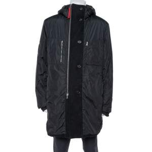 Prada Black Zip Front Hooded Puffer Coat XL