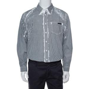 Prada White & Grey Stripe Print Cotton Long Sleeve Shirt XXL