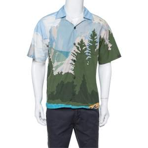Prada Light Blue Mountains Print Cotton Camp Collar Shirt L