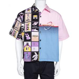 Prada Pink Printed Cotton Patchwork Shirt XL