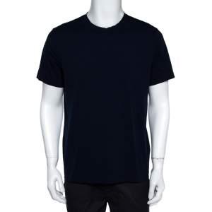 Prada Navy Blue Stretch Cotton Crew Neck T-Shirt XL