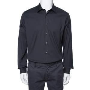 Prada Black Stretch Cotton Long Sleeve Shirt XXL