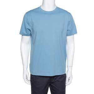 Prada Slate Blue Cotton Jersey Round Neck T-Shirt XL