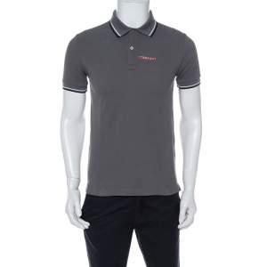 Prada Grey Cotton Pique Stripe Detail Polo T-Shirt S