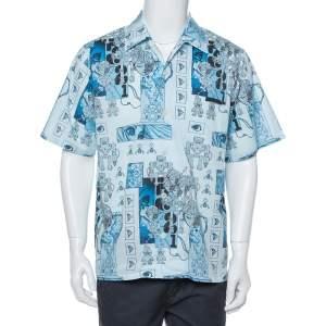 Prada Blue Robot Printed Cotton Bowling Shirt XL