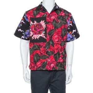 Prada Multicolor Floral Printed Cotton Bowling Shirt M