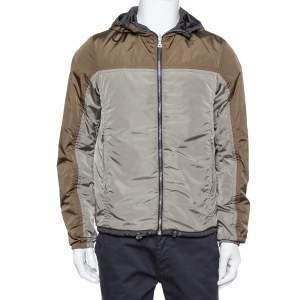 Prada Green / Black Synthetic Reversible Hooded Jacket M