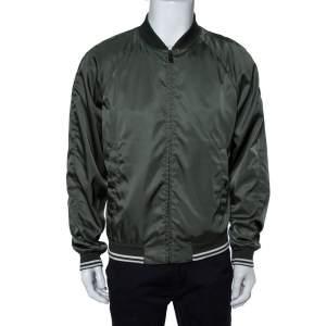 Prada Green Synthetic Zipper Front Bomber Jacket L
