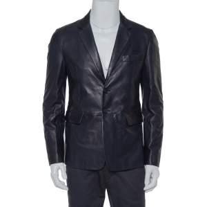 Prada Navy Blue Leather Single Breasted Jacket M