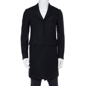 Prada Midnight Blue Felted Wool Button Front Coat S