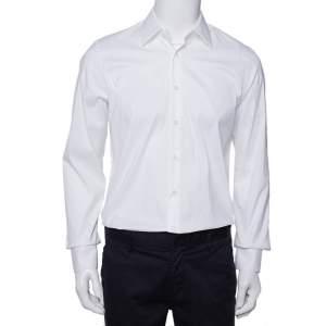 قميص برادا قطن سترتش أبيض بأزرار أمامية مقاس متوسط - ميديوم