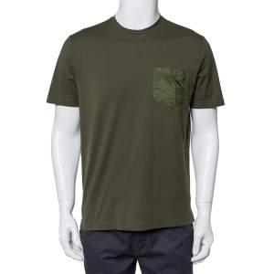 تي شيرت برادا رقبة مستديرة تفاصيل جيب قطن أخضر زيتوني متوسط