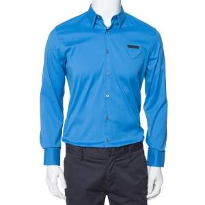 Prada Blue Stretch Cotton Button Front Shirt S