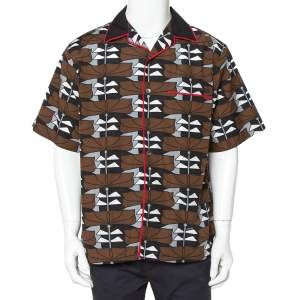 Prada Brown Abstract Printed Cotton Short Sleeve Bowling Shirt XL