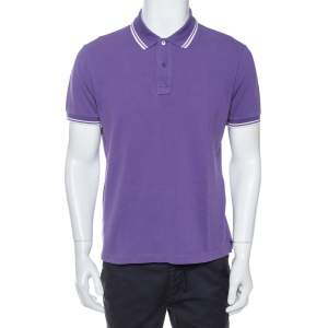 Prada Purple Cotton Pique Striped Trim Detail Polo T-Shirt XL