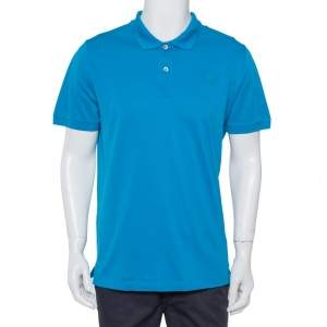 Prada Blue Cotton Pique Polo T-Shirt XXL
