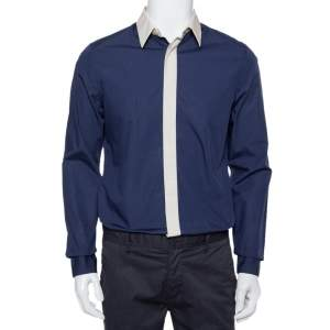 Prada Navy Blue Cotton Contrast Collar & Placket Detail Button Front Shirt L