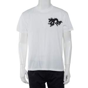 Prada White Cotton Dragon Embroidered Crewneck T-Shirt XXL