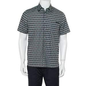 قميص برادا قطن مطبوع متعدد الألوان بأكمام قصيرة مقاس متوسط - ميديوم