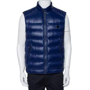 Prada Navy Blue Synthetic Quilted Sleeveless Vest XL