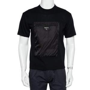 Prada Black Cotton Synthetic patch Pocket Detail Oversized T-Shirt XS
