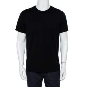 تي شيرت برادا قطن أسود بالشعار المطرز رقبة مستديرة مقاس كبير جدًا - إكس لارج