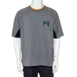 Prada Grey Cotton Pique Contrast Trim Logo Patch Detail Crewneck T-Shirt XXL