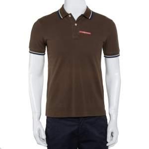 Prada Brown Cotton Pique Contrast Trim Polo T-Shirt S
