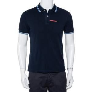 Prada Navy Blue Cotton Pique Polo T-Shirt S
