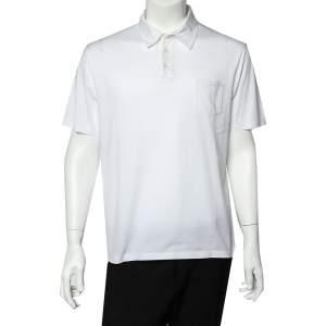 Prada White Cotton Polo T-Shirt XXL