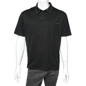 Prada Black Cotton patch Pocket Detail Polo T-Shirt XXL