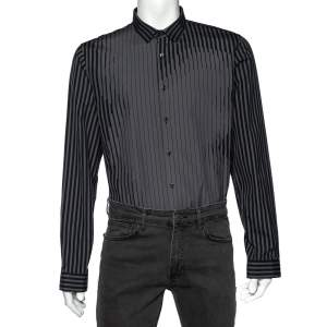 Prada Grey Abstract Stripe Print Cotton Long Sleeve Shirt XXL